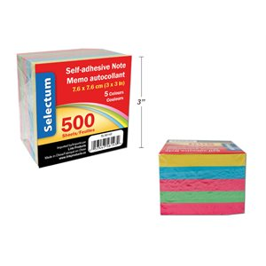 Bloc-note collé couleur 500 f autocollants 3x3  *