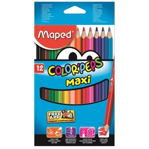 Crayons couleurs Maxi Color'peps (12)  *